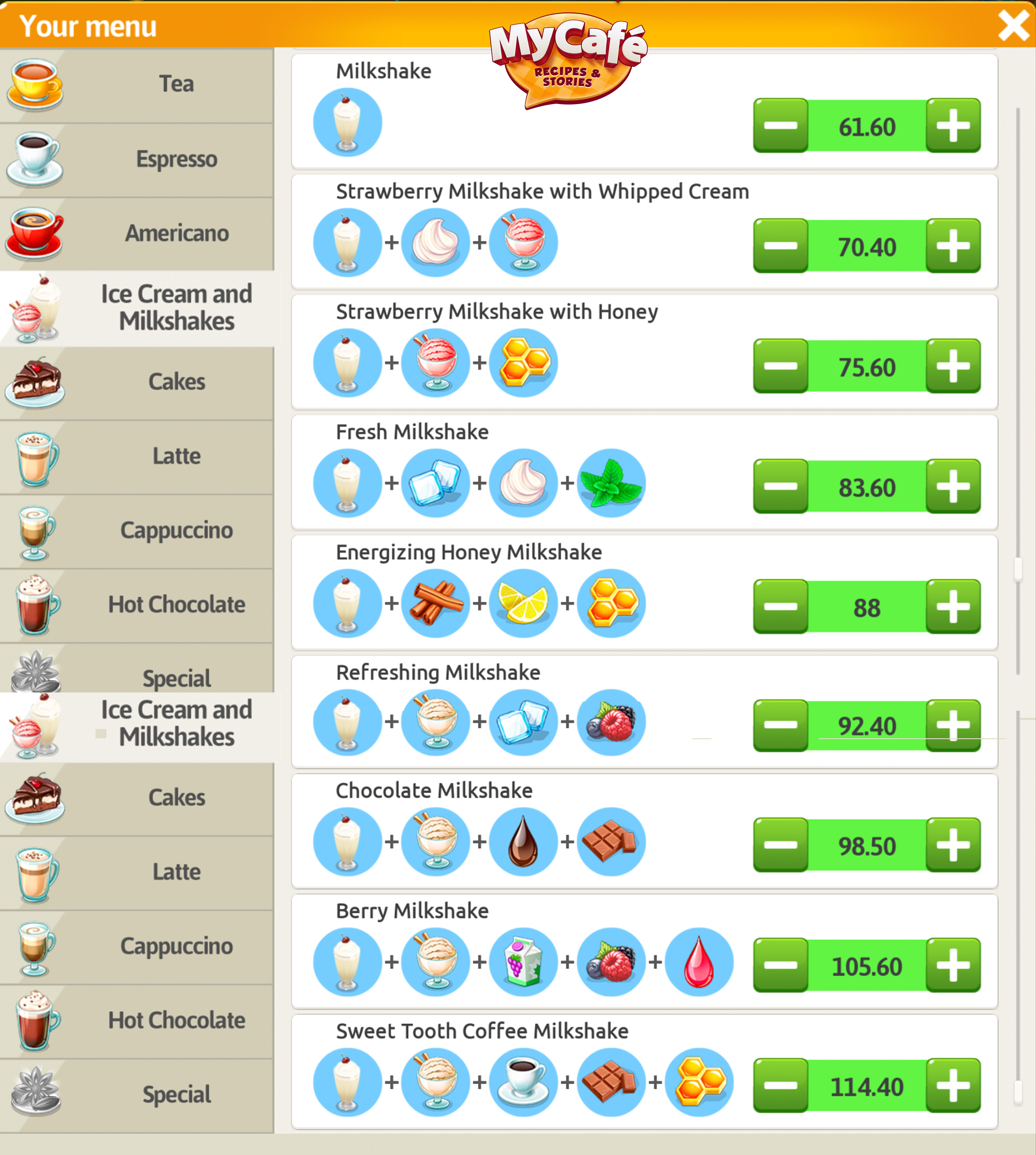 My Cafe Game Milkshake Recipe mycafegame newrecipes milkshake  milkshakerecipes