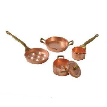Buy 3 Save $5 Set of 3 Miniature Dollhouse Fairy Garden Copper Frying Pans