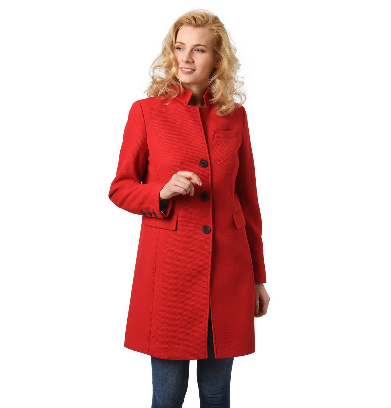 Mantel, Stehkragen, Knopfleiste, Zier Taschen, Brusttasche