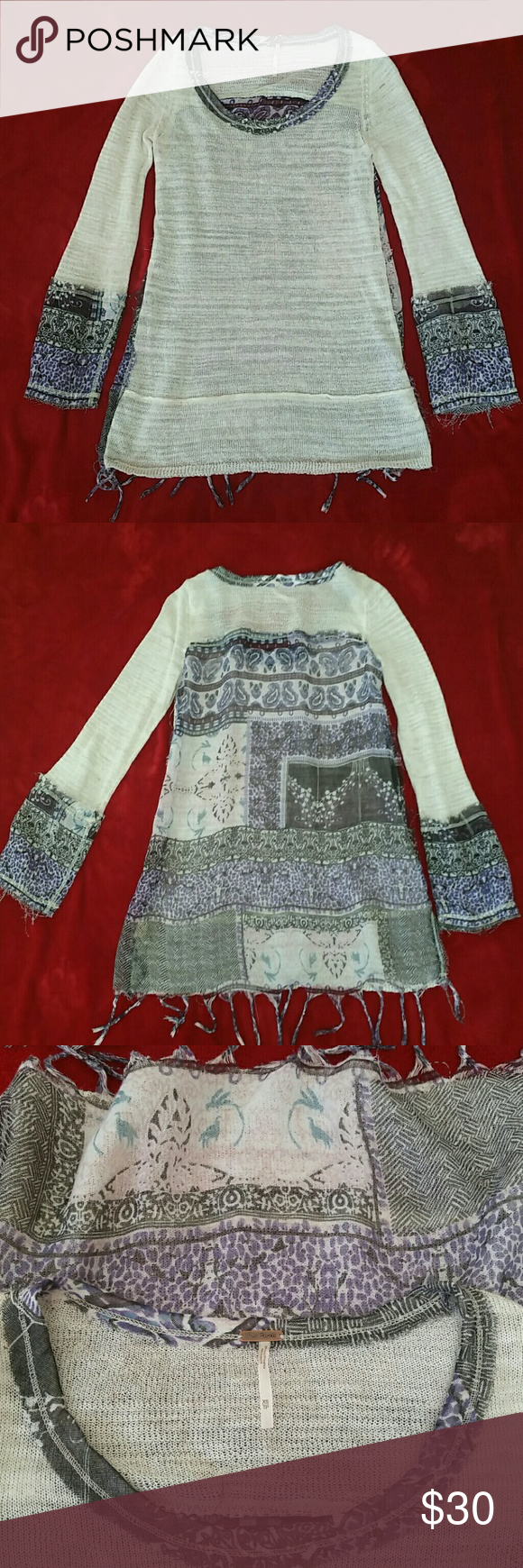 Free People tunic Light brown front. Purple, blue, white, and black back. The back of the shirt is sheer. Soft material. Fringe bottom seam. Free People Tops Blouses