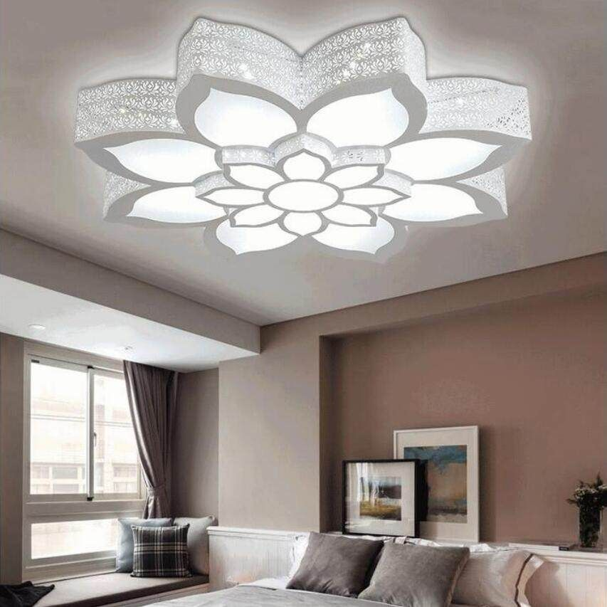 Fashion Lotus Led Chandeliers Led Lamps High Power Led Acrylic Living Room Chandelier Ceiling Light Design Ceiling Design Living Room Chandelier In Living Room Bedroom light new ceiling design