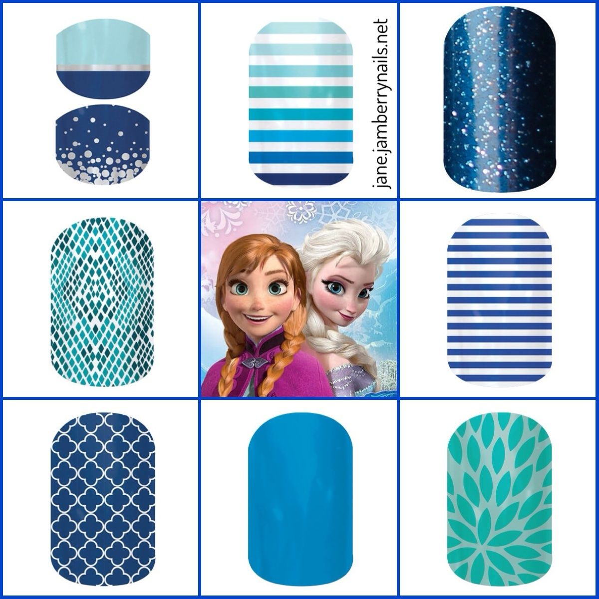 "Frozen inspired Jamberry nail wraps, perfect for Little Girl ""Frozen"" birthday party.  WWW.LOWERY.JAMBERRYNAILS.NET"