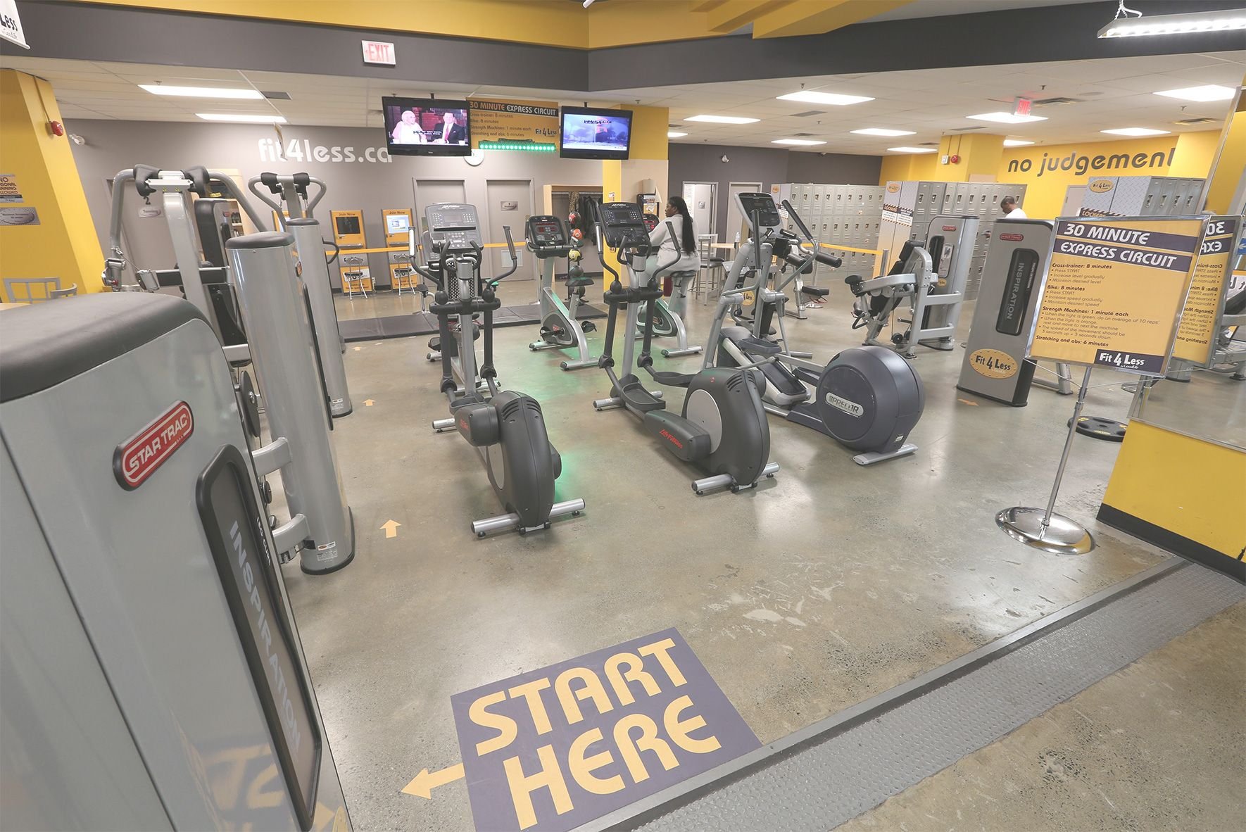 Fit4Less spin room concrete floor. Gym flooring project by