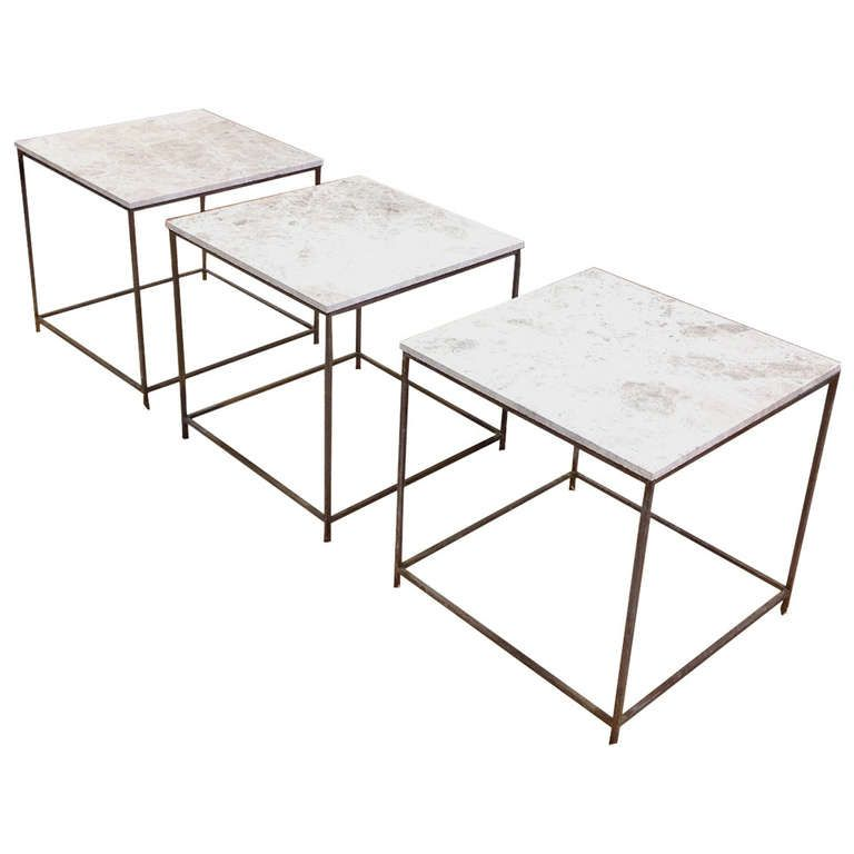 Set of Three Architectural Solid Bronze Cube Side Tables with Marble Tops | From a unique collection of antique and modern side tables at http://www.1stdibs.com/furniture/tables/side-tables/