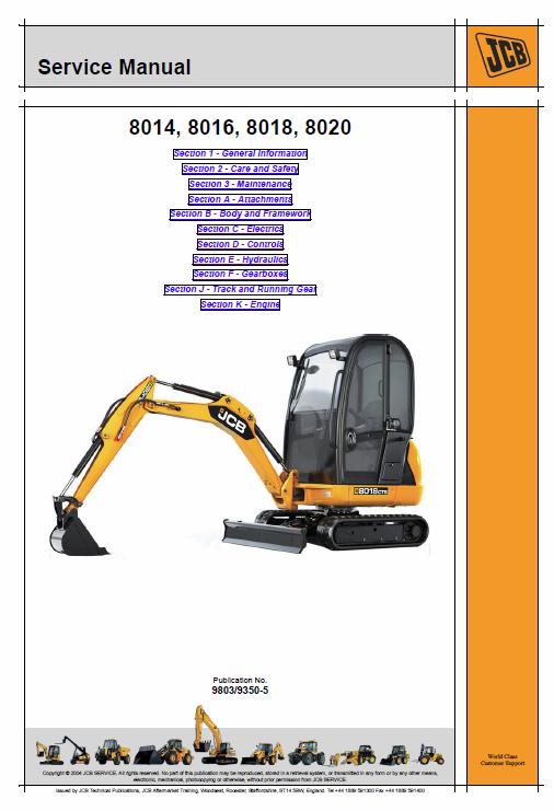 JCB 8014, 8016, 8018, 8020 Mini Excavator Service Manual | JCB