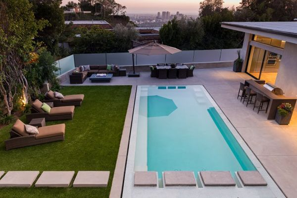 Luxurious Wallace Ridge Estate Home In Beverly Hills Lap Pool Designs Backyard Pool Small Backyard Pools
