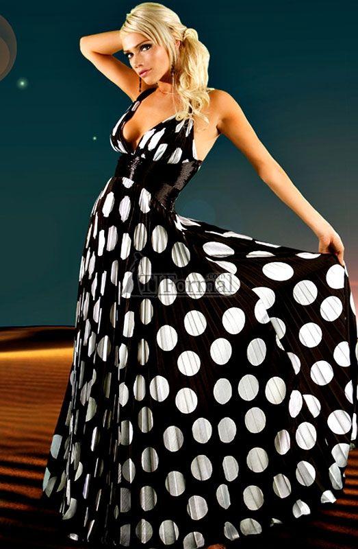 Black and white polka dot formal dress