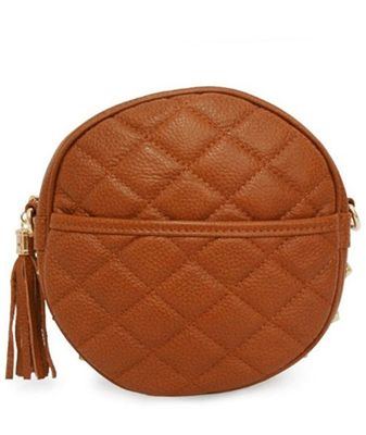 Quilted round zip shoulderbag
