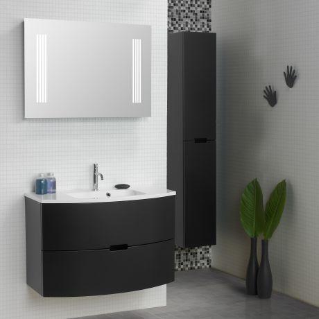 Scanbad Modern Badmöbelset 90cm mit 2 Schubladen und Spiegel mit - beleuchtung im badezimmer