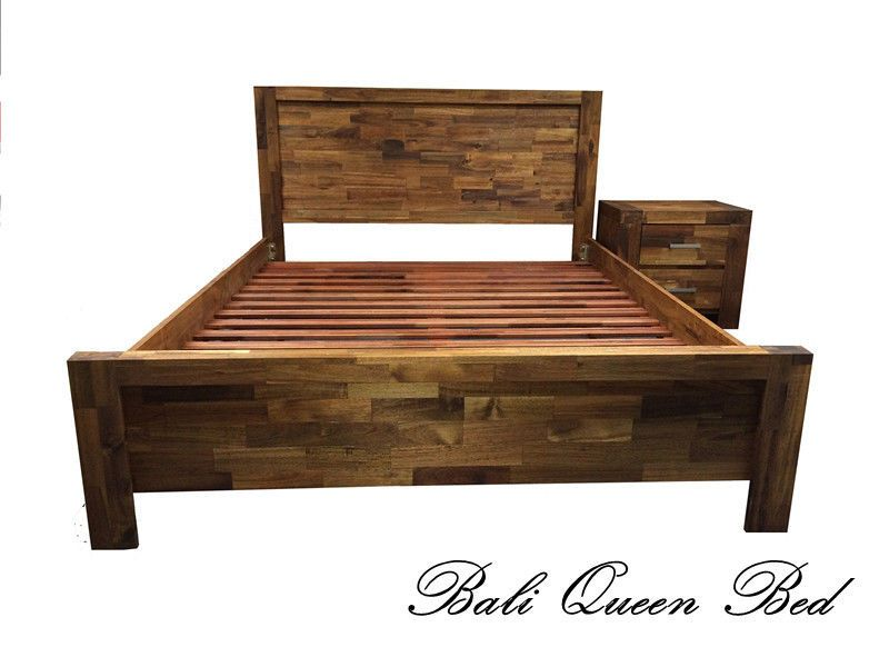 New Solid Timber Acacia Wood Queen Size Bed Frame with Timber Slats ...