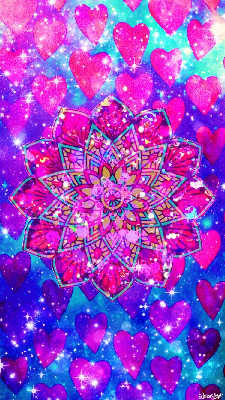 Sparkles Hearts Glitter Mandala Girly Pretty Cute Wallpaper