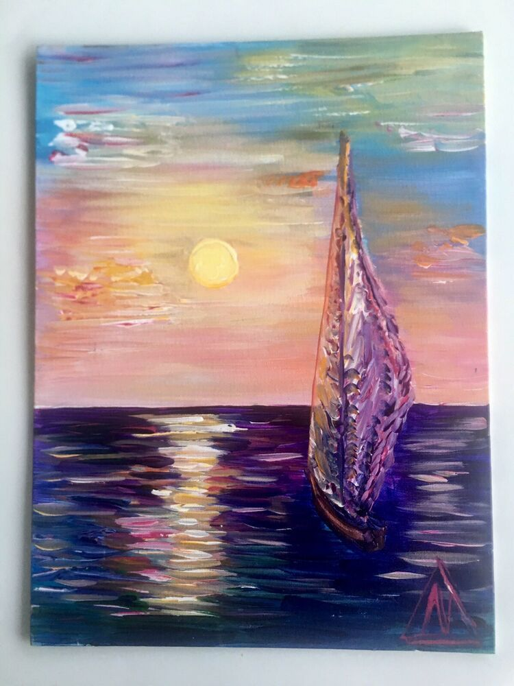 Acrylic Paint On Canvas 12 X16 Miami Sunset By Art Galaxy Donated For Charity Ebay Canvas Art Decor Acrylic Painting Canvas Oil Painting On Canvas