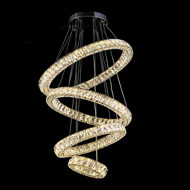 VALLKIN Modern LED Crystal Chandeliers Lights Living Room Dining Hotel With 4 Ring AC100 To
