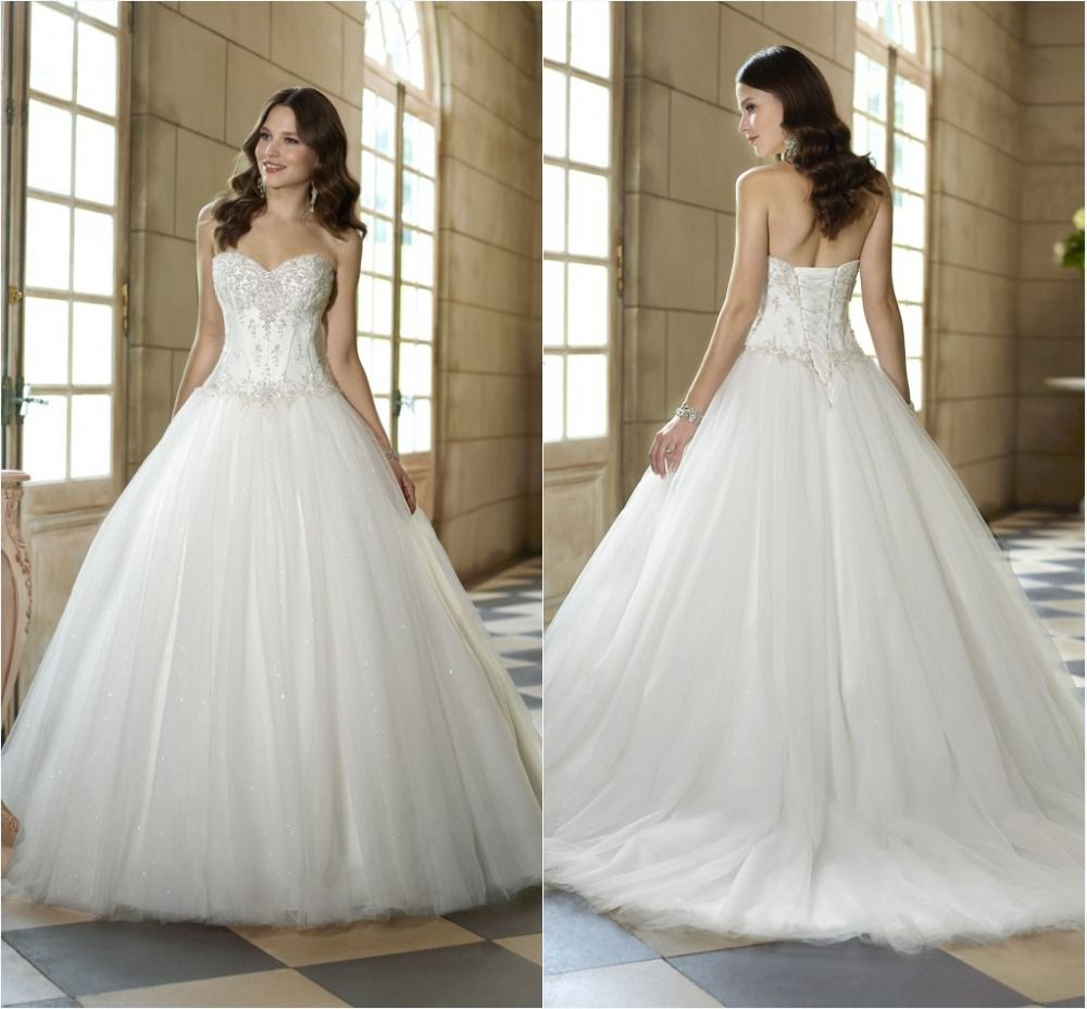 New fashion ivory backless sweetheart wedding dresses tulle bride