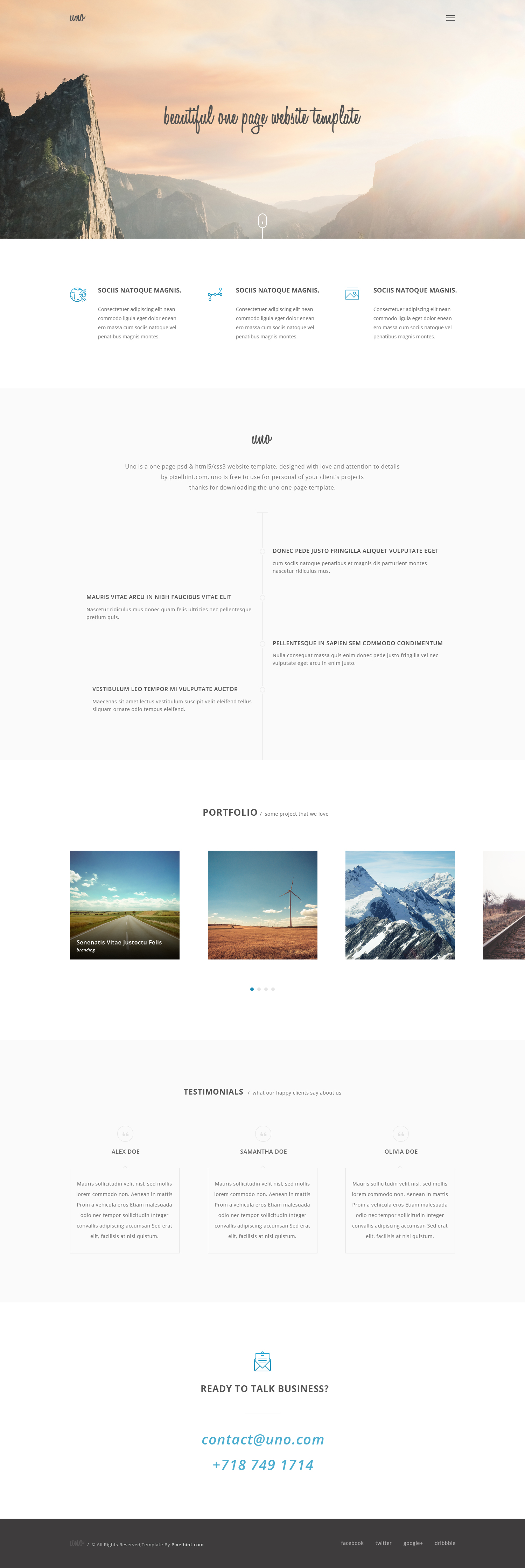 free one page html5 css3 template http pixelhint com uno html5 one