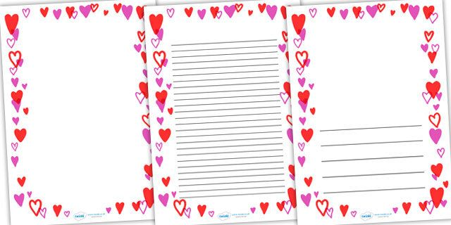 Heart Full Page Borders - page border, border, frame, writing - lined page template