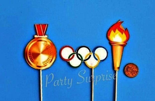 Sports Team Party Custom Hand Made Torch Rings Gold Medal Toppers Birthday Olympics Watch Party Decor Olympics Cupcake Toppers Sports Team Party Custom Hand Made Torch Ri...