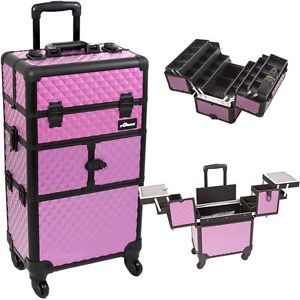 Makeup Storage Box Train Make Up Cosmetic Luggage Organizer Rolling Beauty Case  | eBay || Absolutely love this! I bought this and it's fabulous for personal or a professional makeup case. Can hold makeup, skincare, hair supplies and even better it comes apart so you can use it as trolley or take off top part and use strap around shoulder. 💋Melissa McInnis💋