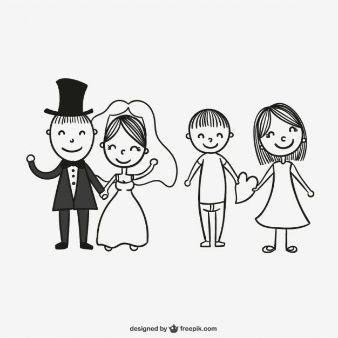 Dibujo de parejas de recin casados  Vectores  Pinterest