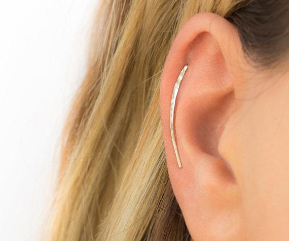 Ear Climbers Baguette Red Garnet Cartilage Piercing Red Garnet Wrap Crawler Diamond Ear Climber Cartilage Earrings
