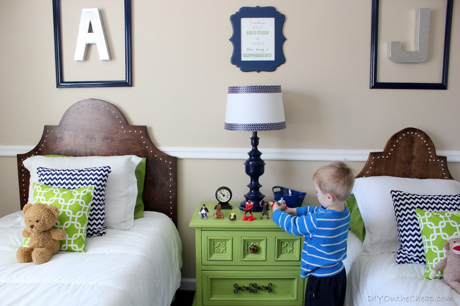 Extraordinary Beige Shared Kids Room With Light Green Nightstand Table And  Reclaimed Wood Headboard Also Alphabets Wall Ornaments
