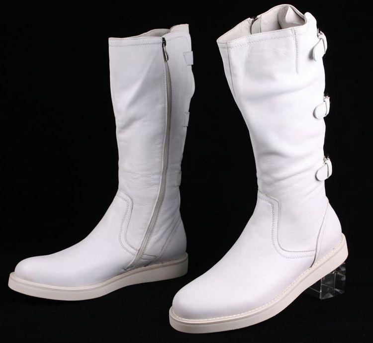 Large size EUR 45 fashion knee high black / white mens boots ...
