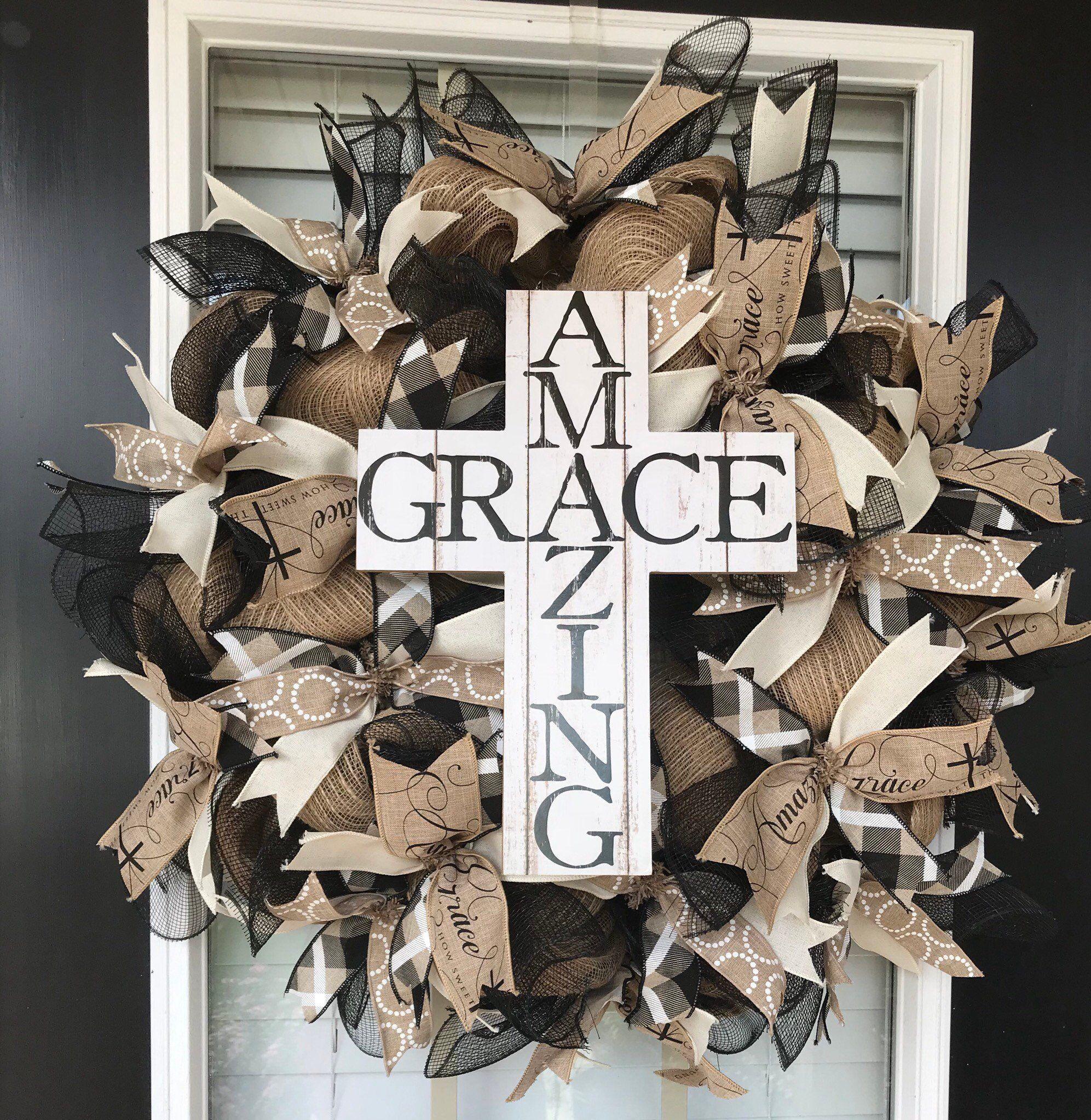 Photo of Everyday wreath, year round wreath, front door decor, everyday decor, wreath for the front door, Amazing Grace wreath, front door wreath