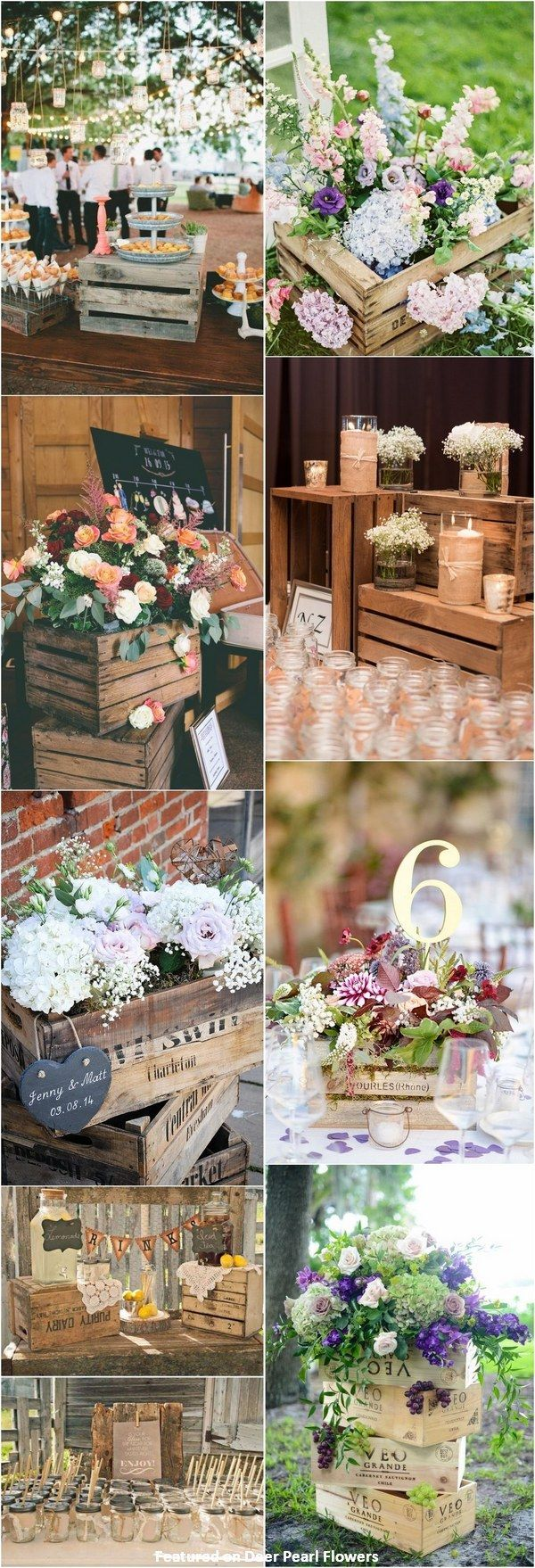Country wedding decoration ideas  Rustic country wooden crate wedding decor ideas