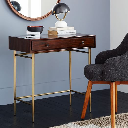 Lofted On A Graceful Metal Base The Heston Mid Century Mini Desk Is Crafted With An Inset Drawer That Exposes Contrast Black Reveal Its Small Size Makes