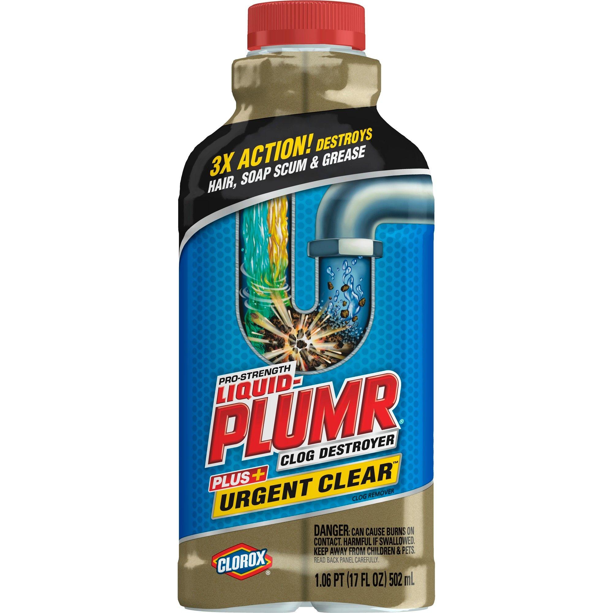 Liquid Plumr Pro Strength Clog Remover Urgent Clear 17 Oz