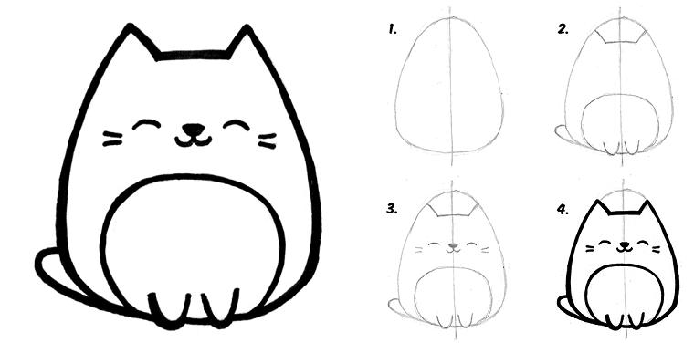 Immagini Da Disegnare Facili Disegno Di Un Gattino Tutorial Disegno A Matita Disegni Kawaii Disegni Facili Disegni