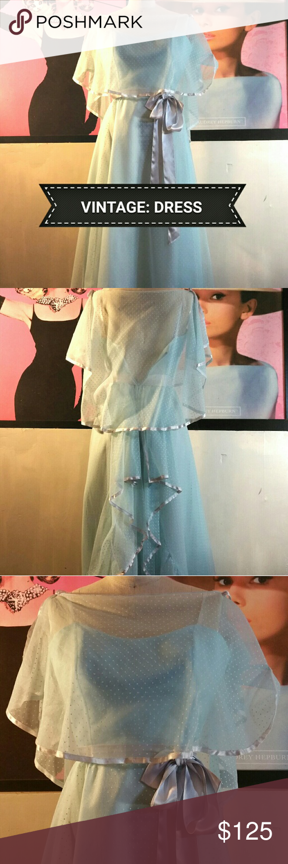 Alfred Angel Dance Allure Dress w/Shawl A classic and beautiful style. Off the shoulder sheer shawl and baby blue with white polka dots. No major flaws, back zips up all the way but is open in picture because mannequin is too wide.   That said this will fit small frames only, nothing larger then a 34. Waist and hips fit an 8. Needless to say that because of the top itself, best fits a 6 or smaller. Vintage  Dresses Prom