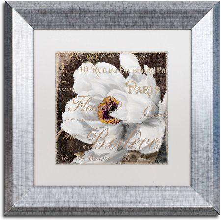 Trademark Fine Art Fleurs Blanc Iii Canvas Art by Color Bakery White Matte, Silver Frame, Assorted