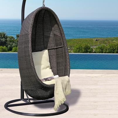 Silla Colgante tipo huevo aluminio ratán PE #Terraza #Jardin | Garten