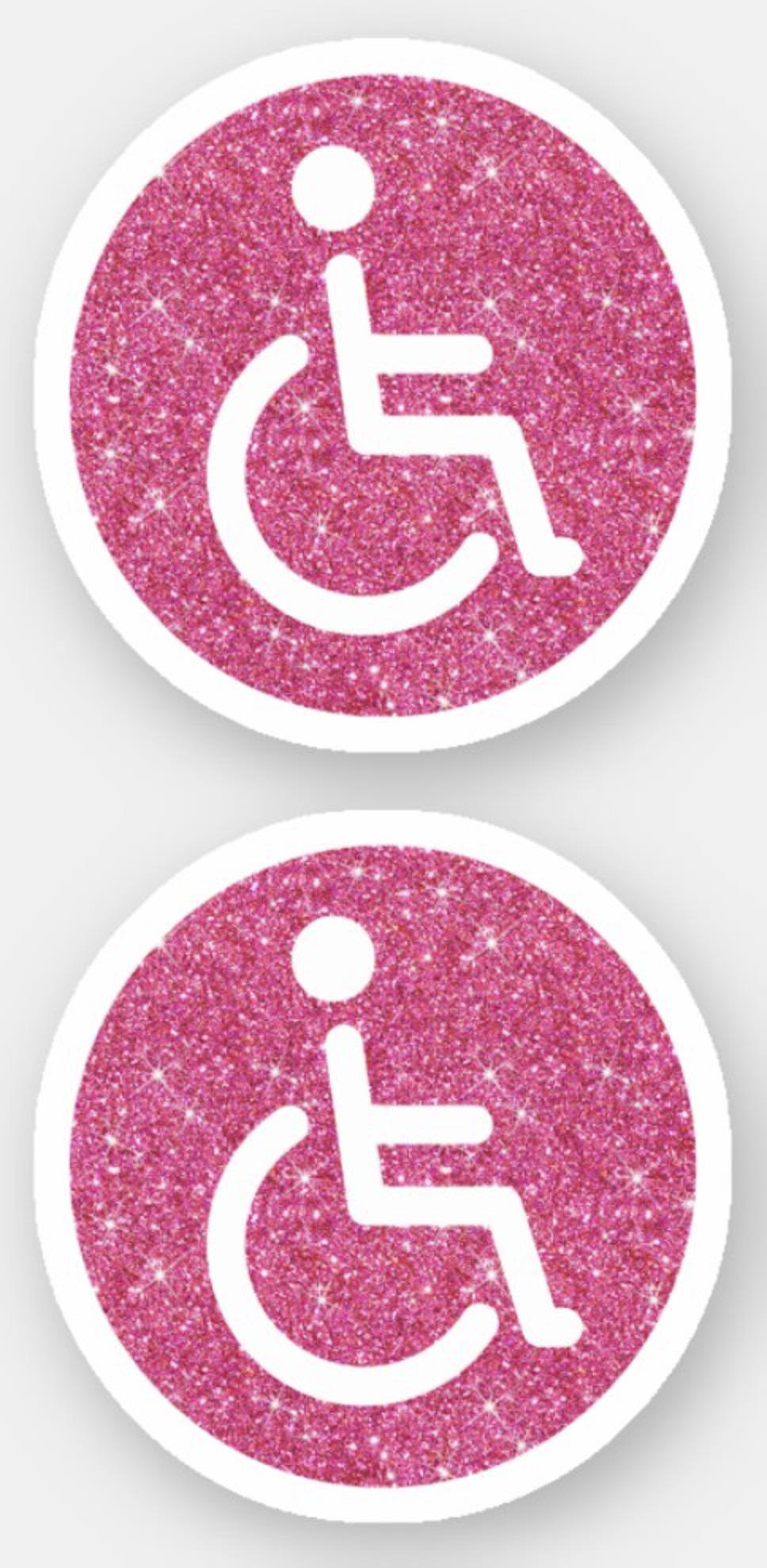 Pink Glitter Disabled Handicap Symbol Sticker Zazzle Com Pink Glitter Background Pink Glitter Glitter Background [ 1978 x 968 Pixel ]