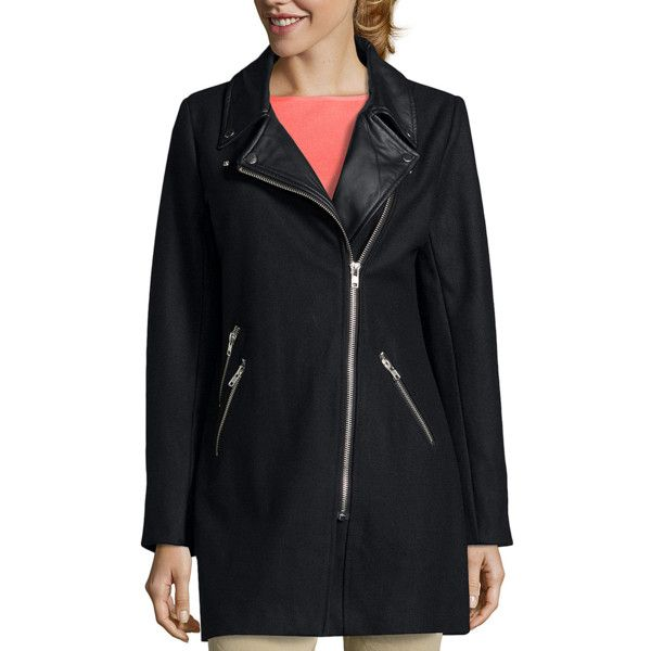 Wyatt Black Wool Blend Faux Leather Detailed Moto Coat (339732401) ($108) ❤ liked on Polyvore featuring outerwear, coats, black, faux coat, lightweight down jacket, down jacket, wool-blend coat and down filled jacket