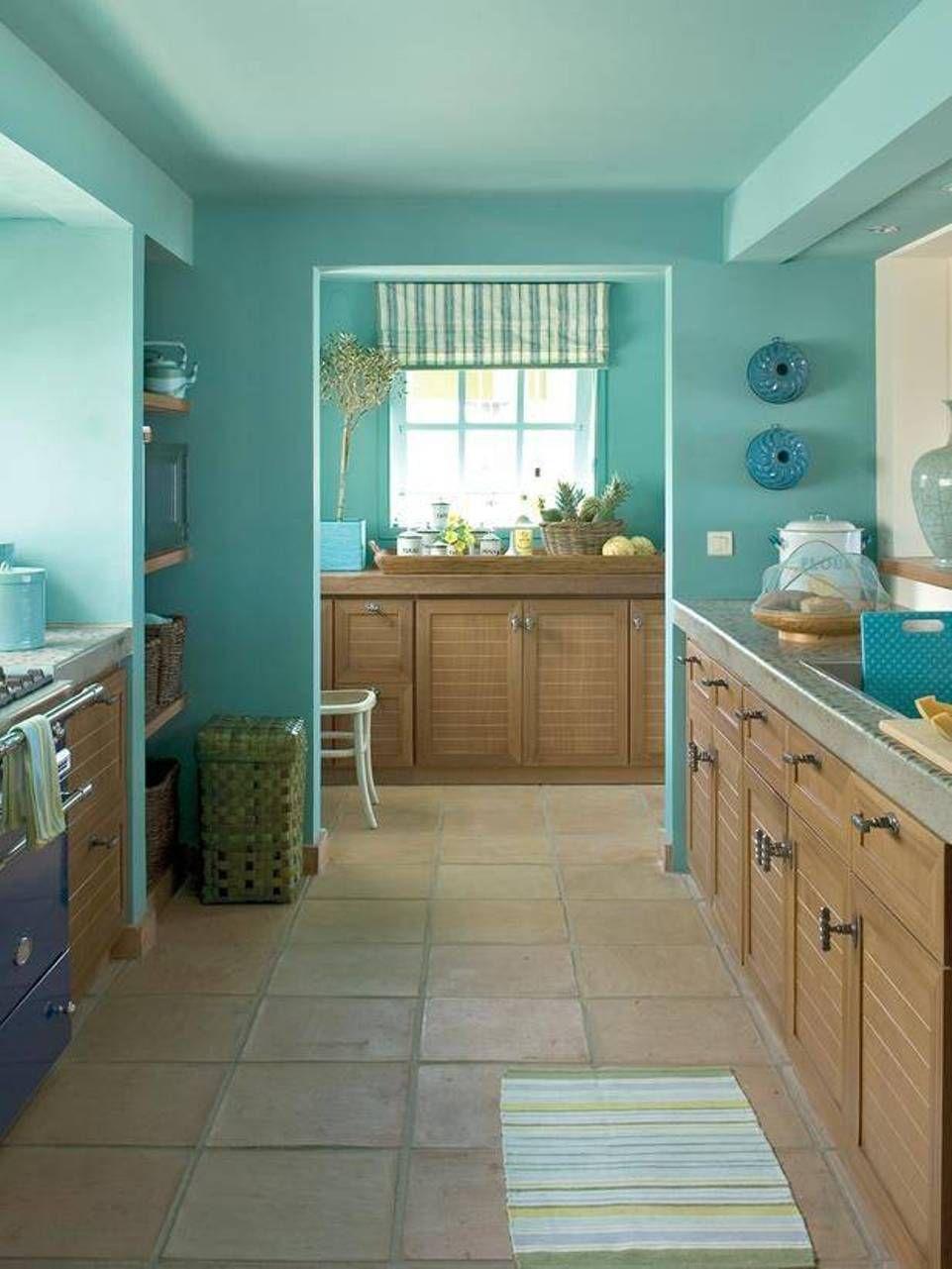 Kitchen , Superb Galley Kitchens : Galley Kitchens With Blue Walls ...