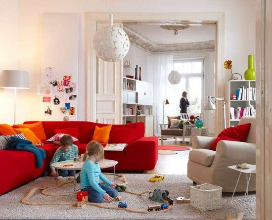 50 Bright And Colorful Room Design Ideas Digsdigs Red Sofa Living Room Living Room Red Bright Living Room