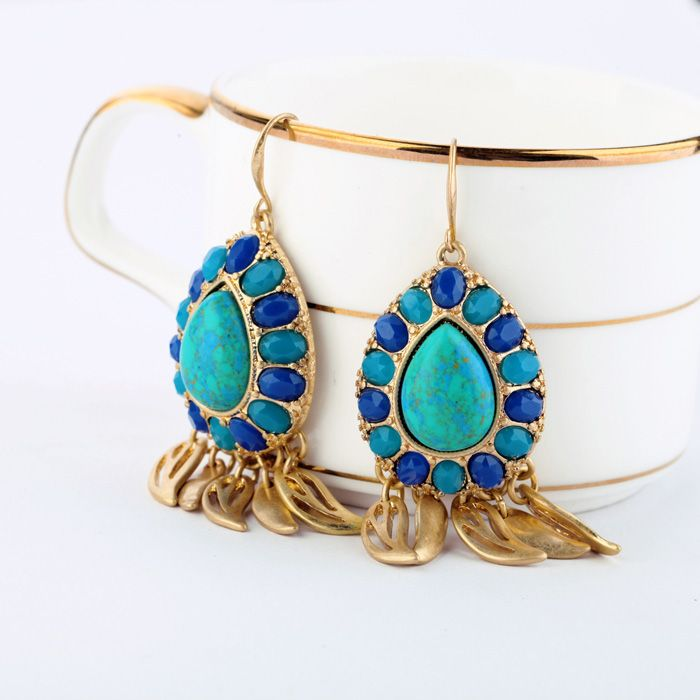 Fashion  accessories blue natural stone drop earrings Factory Wholesale 191,28 руб.