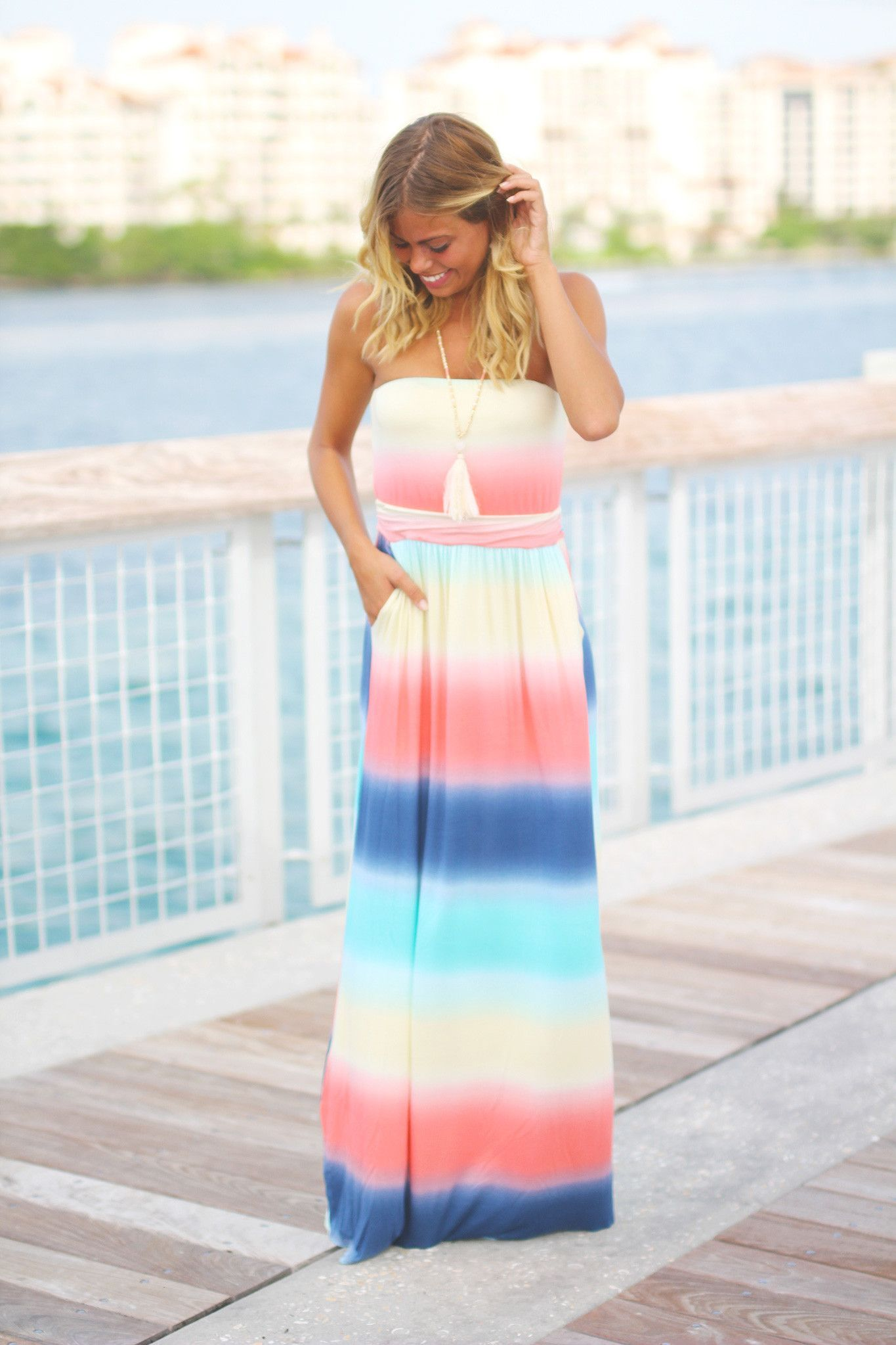 Rainbow Strapless Maxi Dress