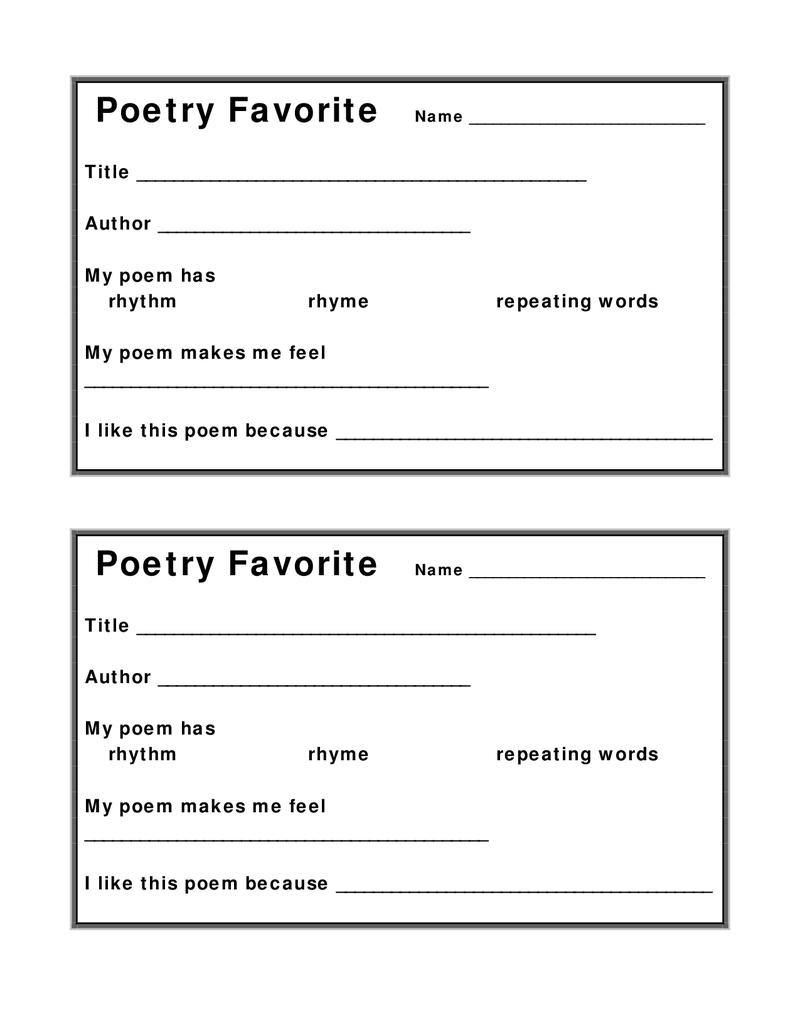 Poetry Favorite Worksheet Docx Poetry Worksheets Poetry Homework Poetry Lessons [ 1035 x 800 Pixel ]
