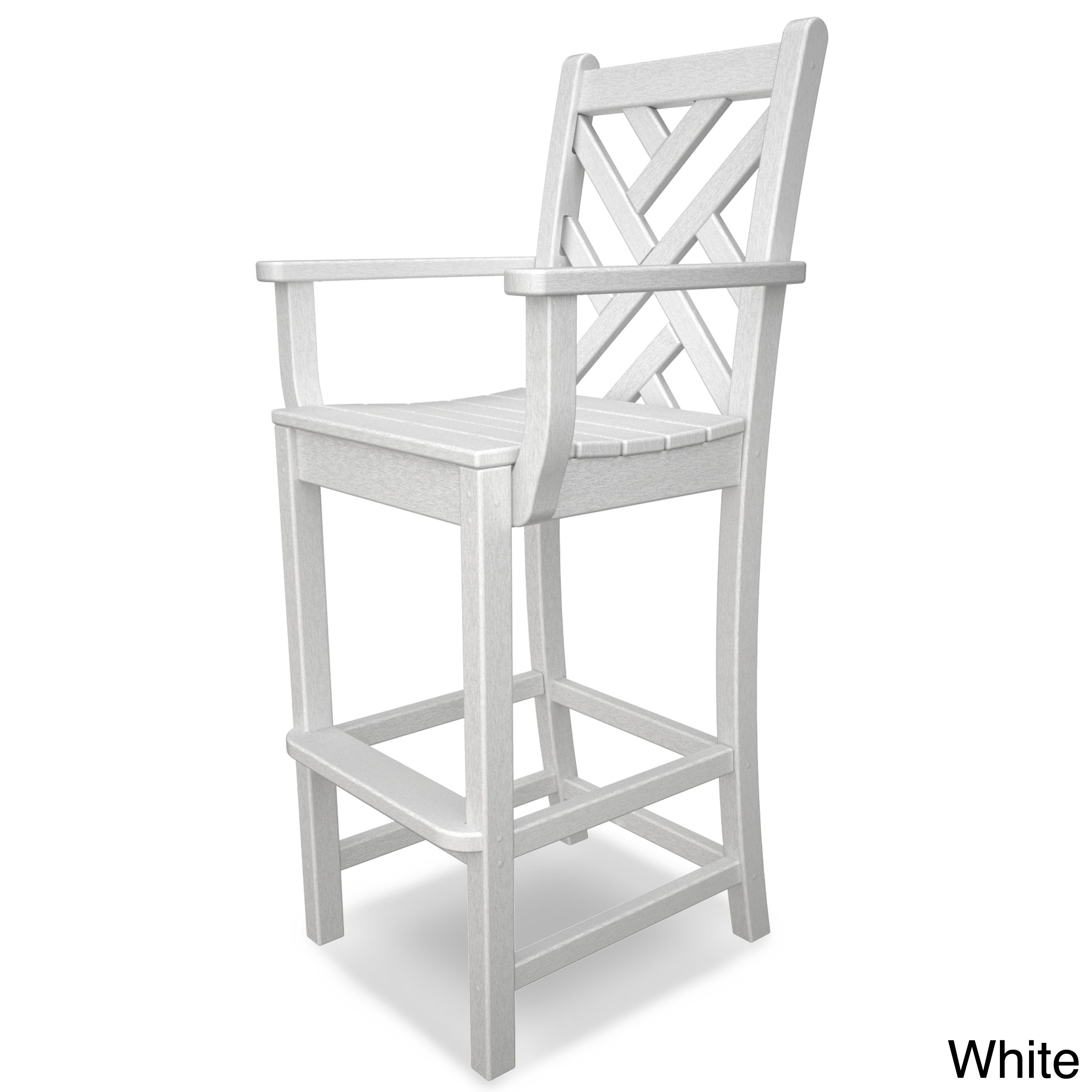 Remarkable Polywood Chippendale Bar Arm Chair White Size Single Onthecornerstone Fun Painted Chair Ideas Images Onthecornerstoneorg