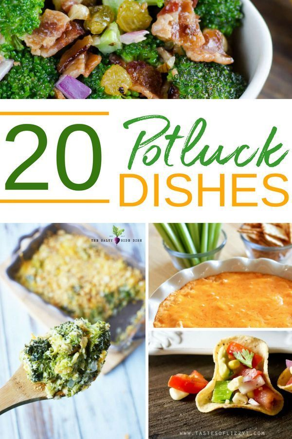 Crave-Worthy Potluck Dishes Pretty Much Anyone Will Love #potluckdishes 20 Potluck Dishes Almost Everyone Will Love - Check out these tasty potluck dishes to bring along to any gathering. Addictive salads, casseroles, desserts, dips and more! #potluckdishes