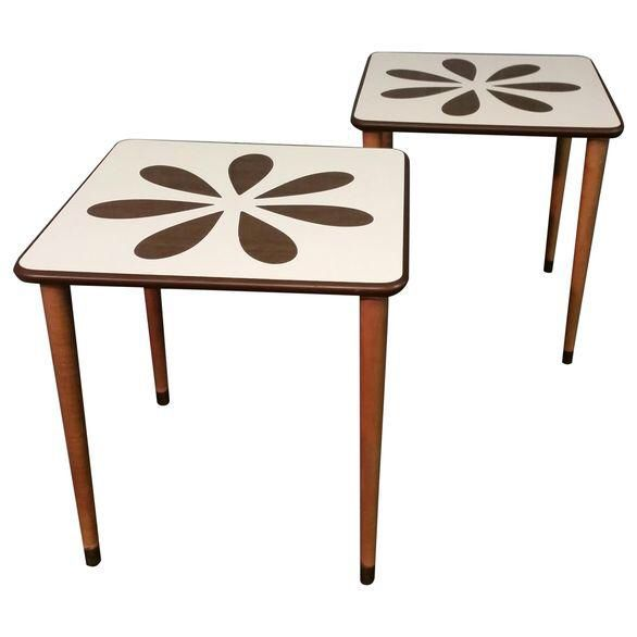 Mid Century White Formica Coffee Table Pair On Chairish