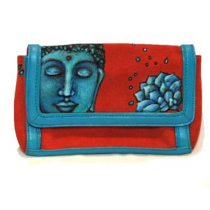 Buddha handpainted suede clutch. Genuine leather painted by me with leather paints, signed painting on this boho chic style purse. Varnished for protection and years of use. A great Holiday gift.....shop for this or other of my handbags on Olivosartstudio.com Shop handmade, support the Arts this Holiday Season! link to all the currently available purses: http://olivosartstudio.com/…/na…/namaste-handbag-collection/