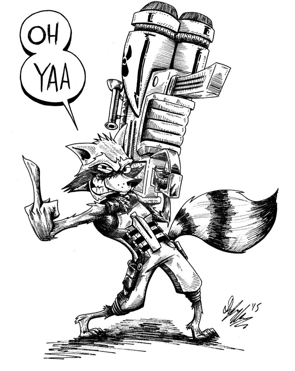 Rocket Raccoon By Outhousecartoonsviantart On