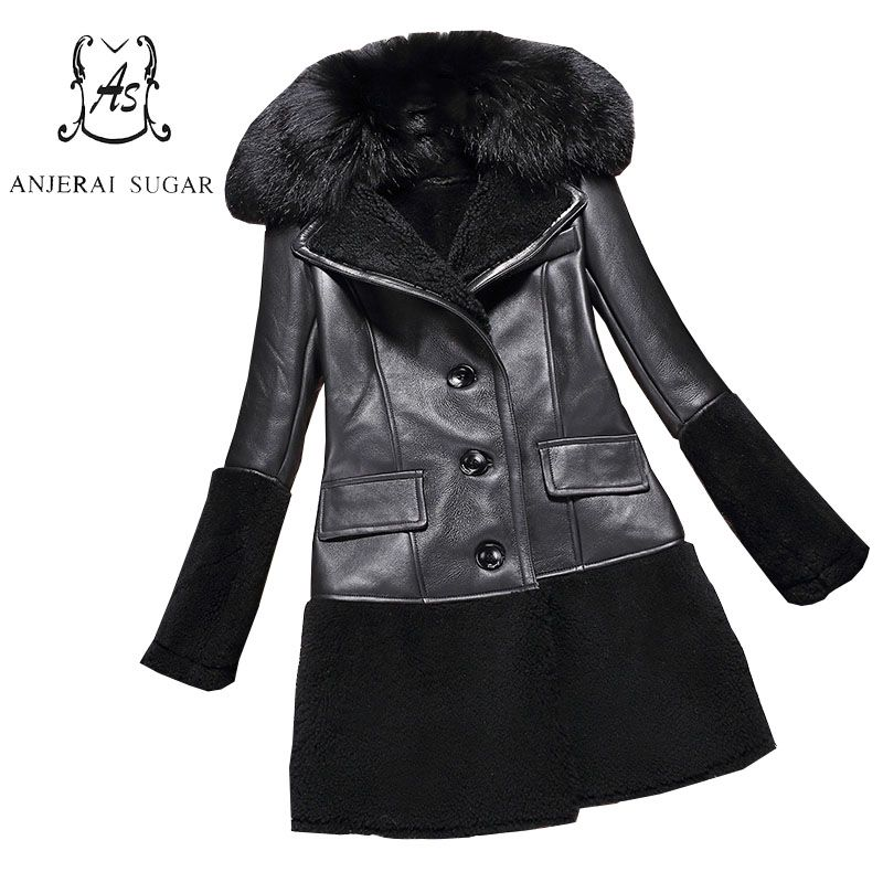 Women genuine Lamb Fur coat black colour real Sheep leather spliced winter jacket big fox Fur collar feminino natural fur coats #Affiliate