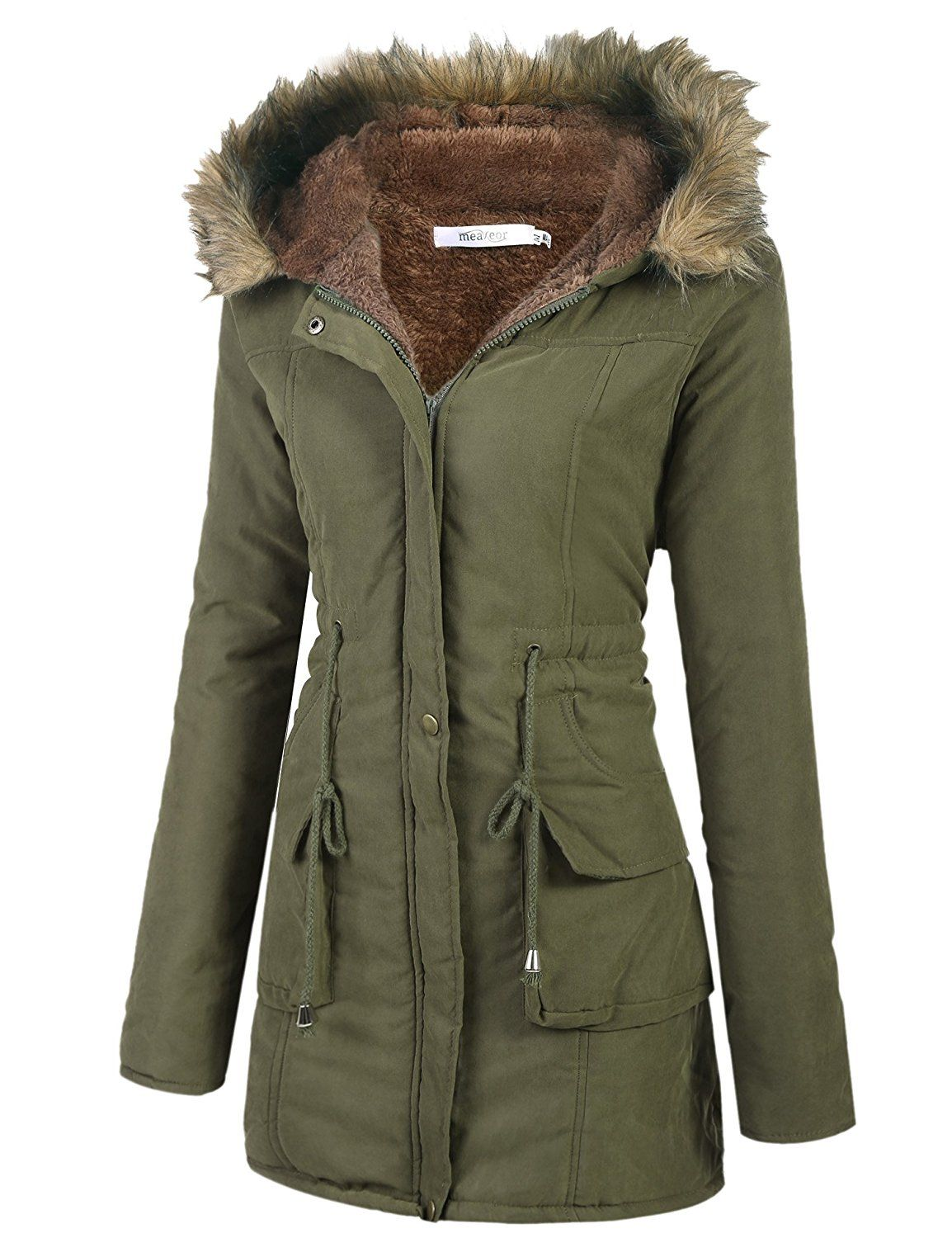 87b001655f3d Meaneor Womens Hooded Warm Winter Faux Fur Lined Parkas Long Coats   Amazon.ca  Clothing   Accessories  CANADA