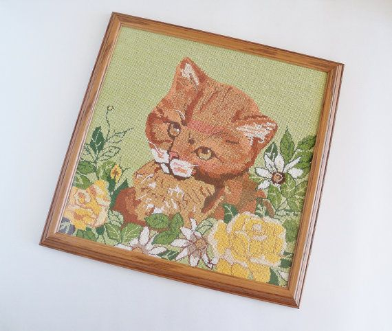 Darling Cat Needlepoint Custom Framed Wall by SunshineSurprises