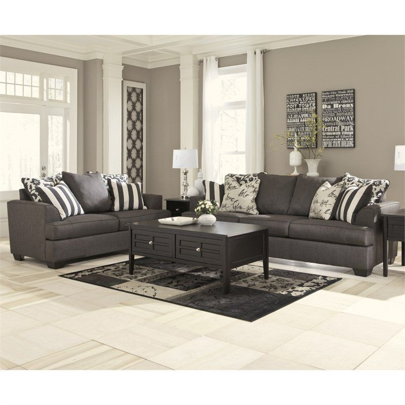 Lowest Price Online On All Signature Design By Ashley Furniture Levon 2 Piece Sofa Set In Charcoal 7340335 38